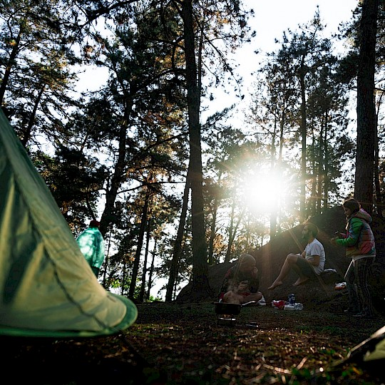 Wild camping in the forest