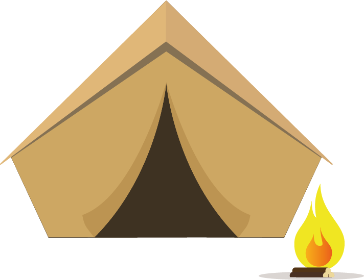 Tent with campfire